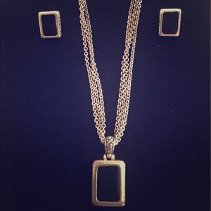Silver and black jewelry set